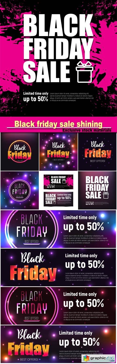 Black friday sale shining, sale and discount, business banner, vector illustration