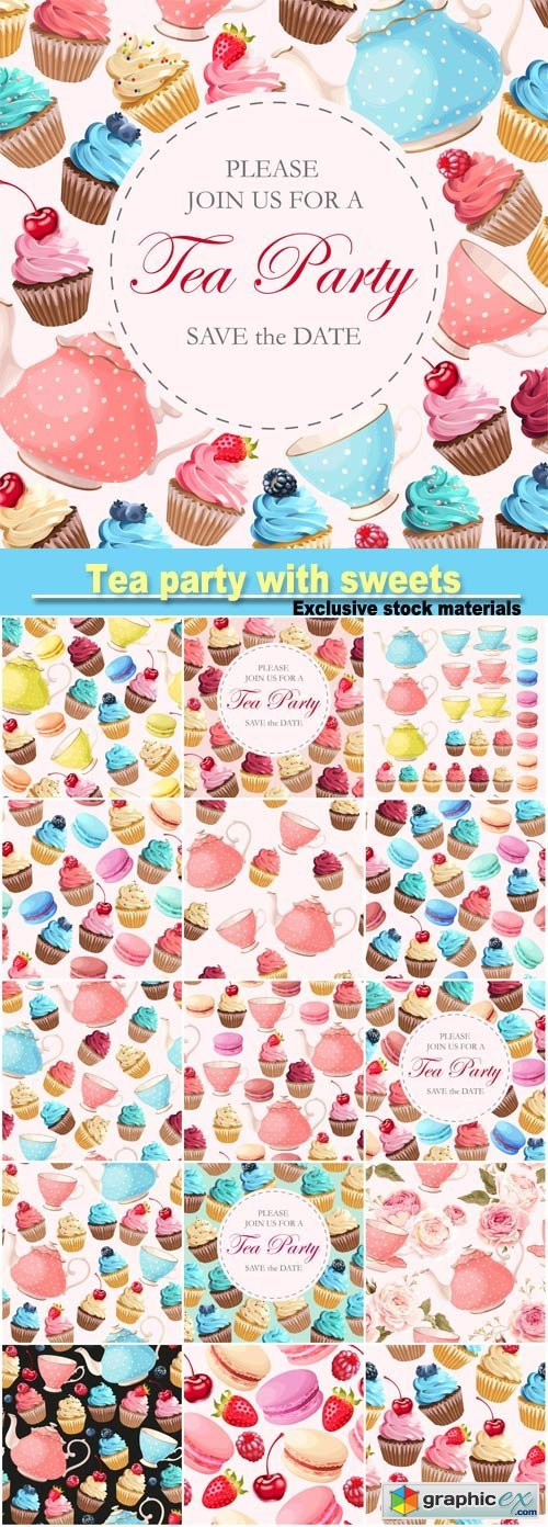 Invitation to tea party with sweets