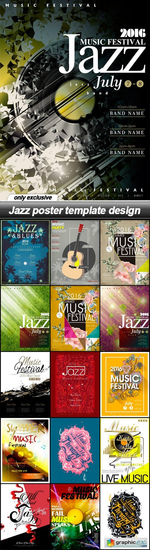 Jazz poster template design - 16 EPS