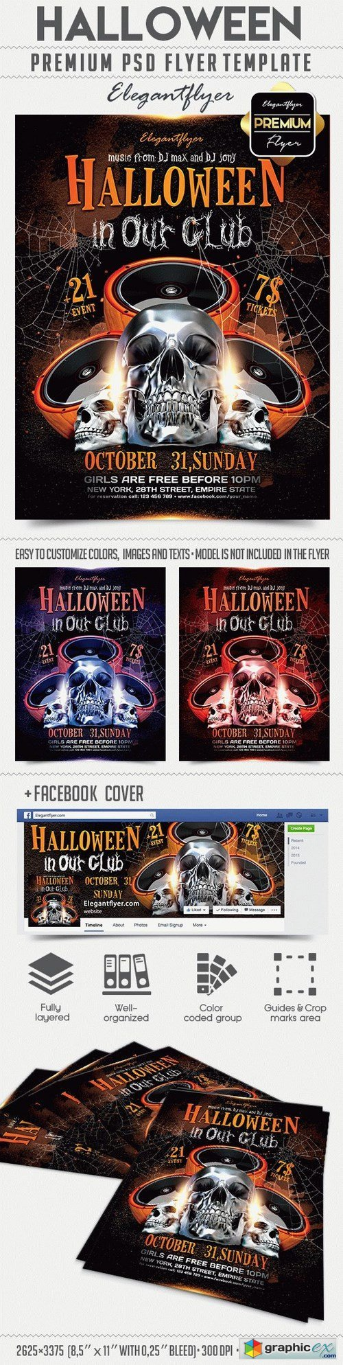 Halloween in Our Club � Flyer PSD Template + Facebook Cover