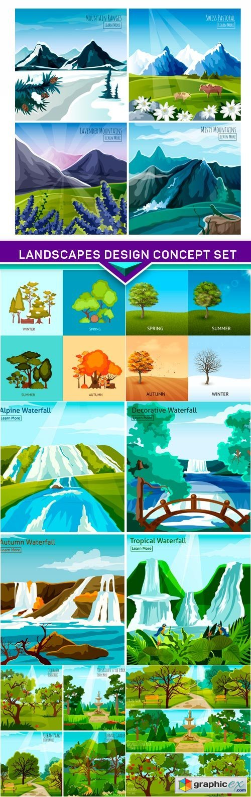 Landscapes design concept set 6X EPS