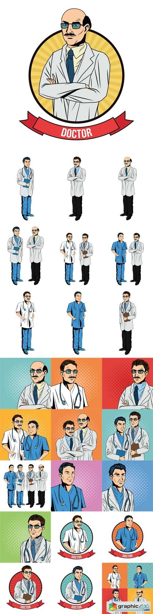 Doctor cartoon with uniform. Medical care pop art comic and retro theme
