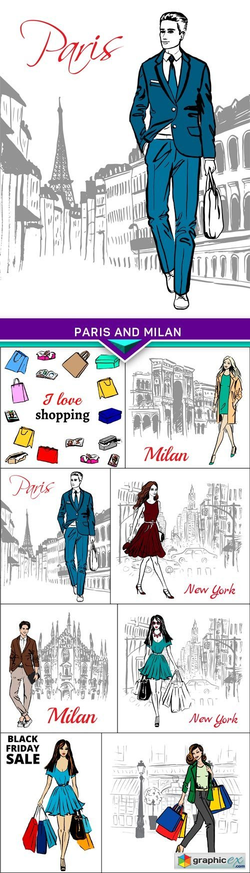Fashion illustration street of Paris and Milan 8X EPS