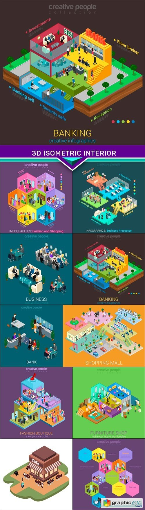 3d isometric interior mall business concept vector 10X EPS