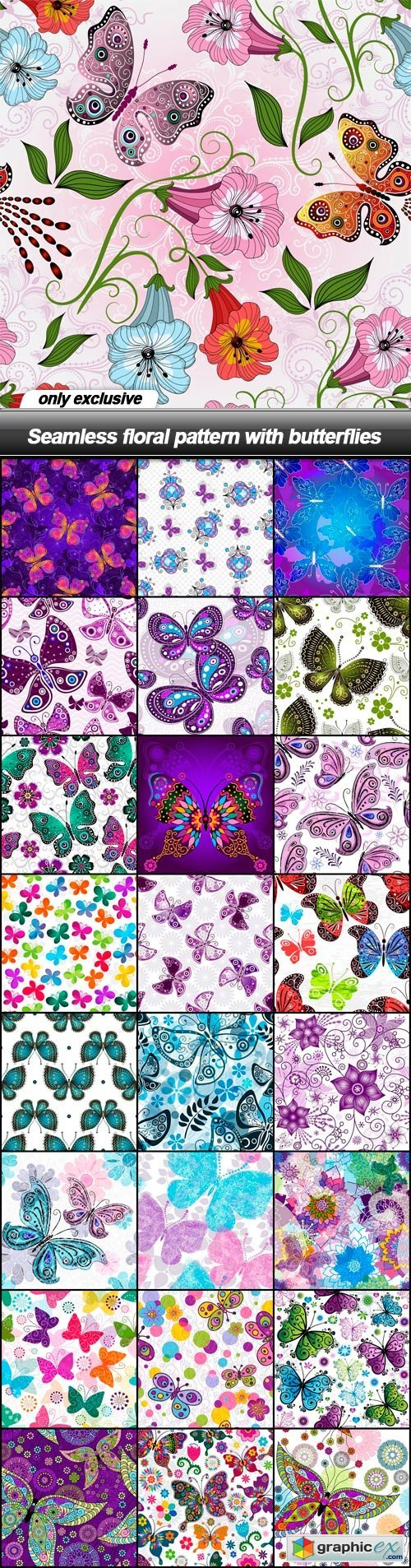 Seamless floral pattern with butterflies - 25 EPS