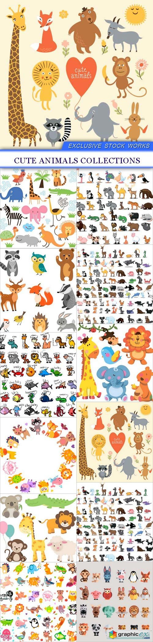 Cute Animals Collections 12X EPS