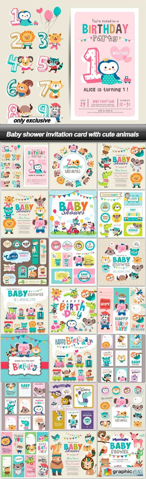 Baby shower invitation card with cute animals - 21 EPS