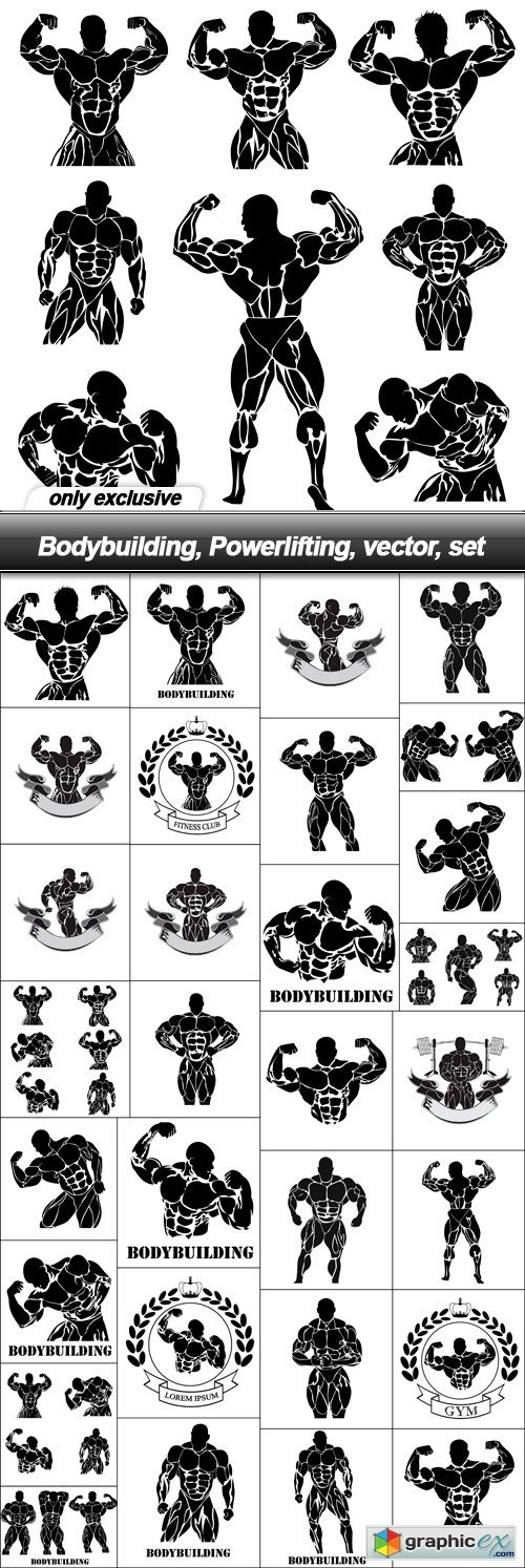 Bodybuilding, Powerlifting, vector, set - 31 EPS