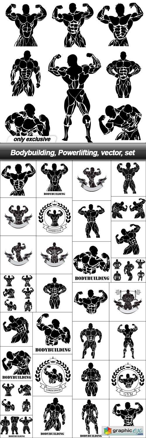 Bodybuilding, Powerlifting, vector, set - 31 EPS