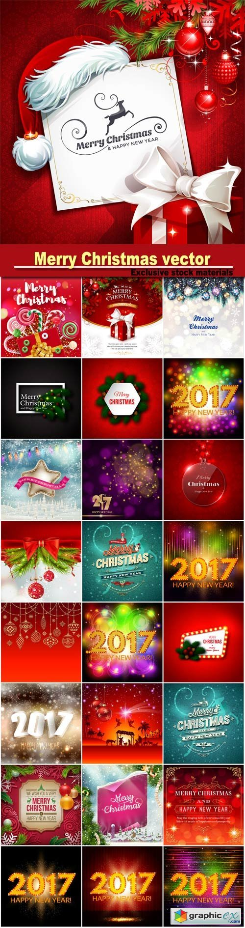 Merry Christmas greeting colorful vector illustration, New year background