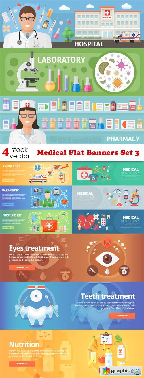 Medical Flat Banners Set 3