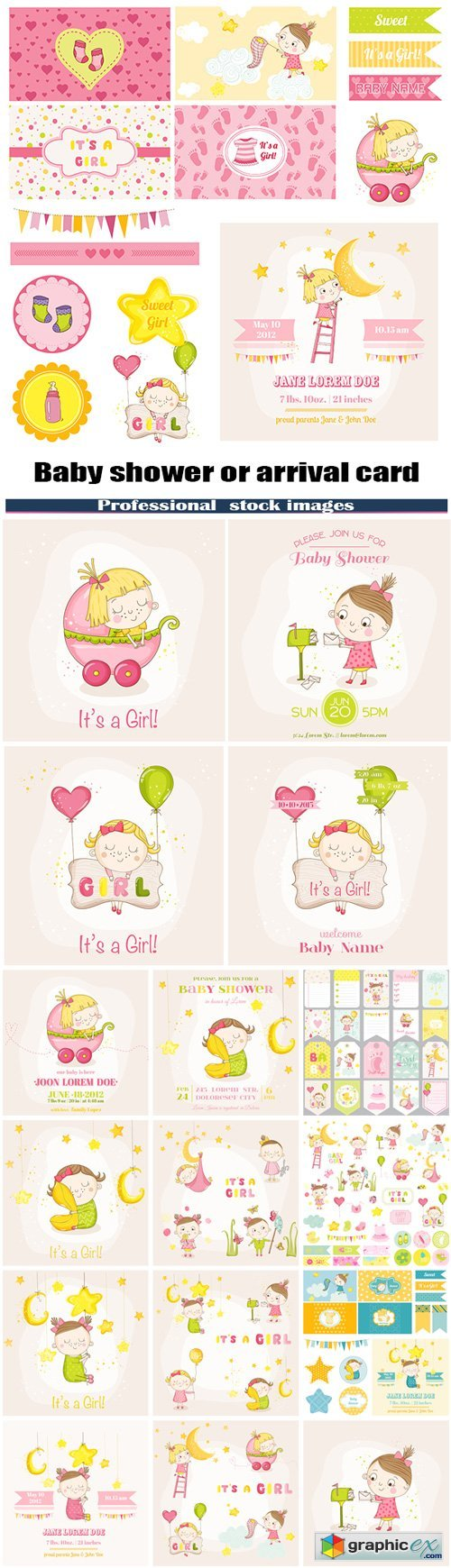 Baby girl - Baby shower or arrival card