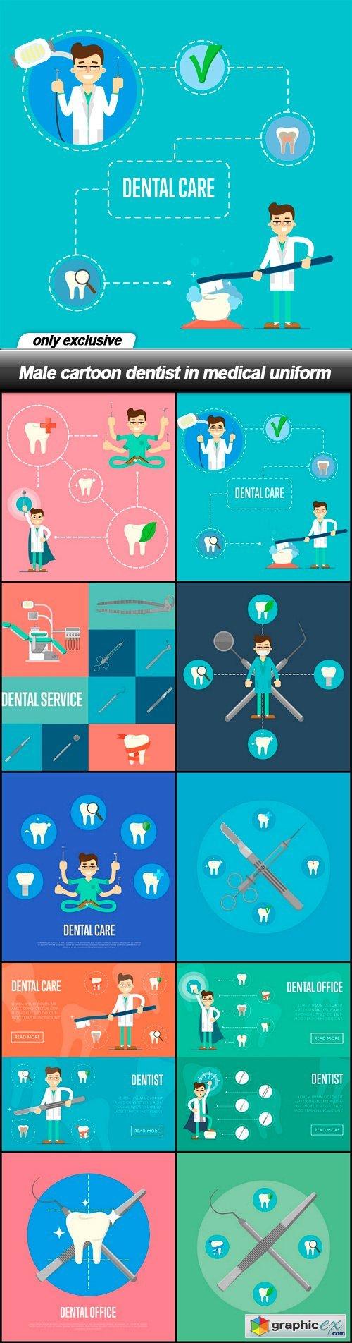 Male cartoon dentist in medical uniform - 25 EPS