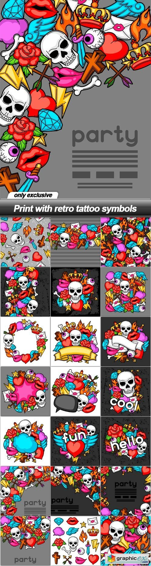 Print with retro tattoo symbols - 21 EPS