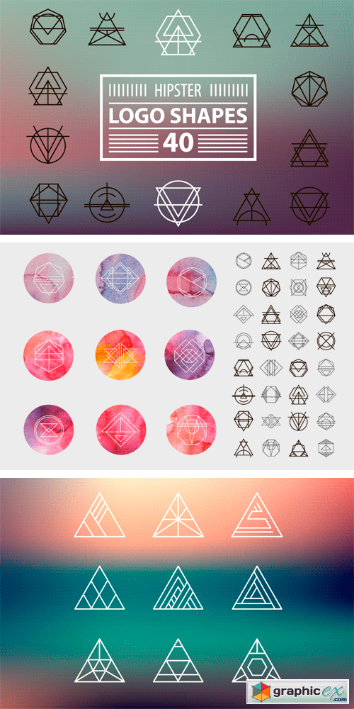 Hipster Logo Shapes Bundle of 40