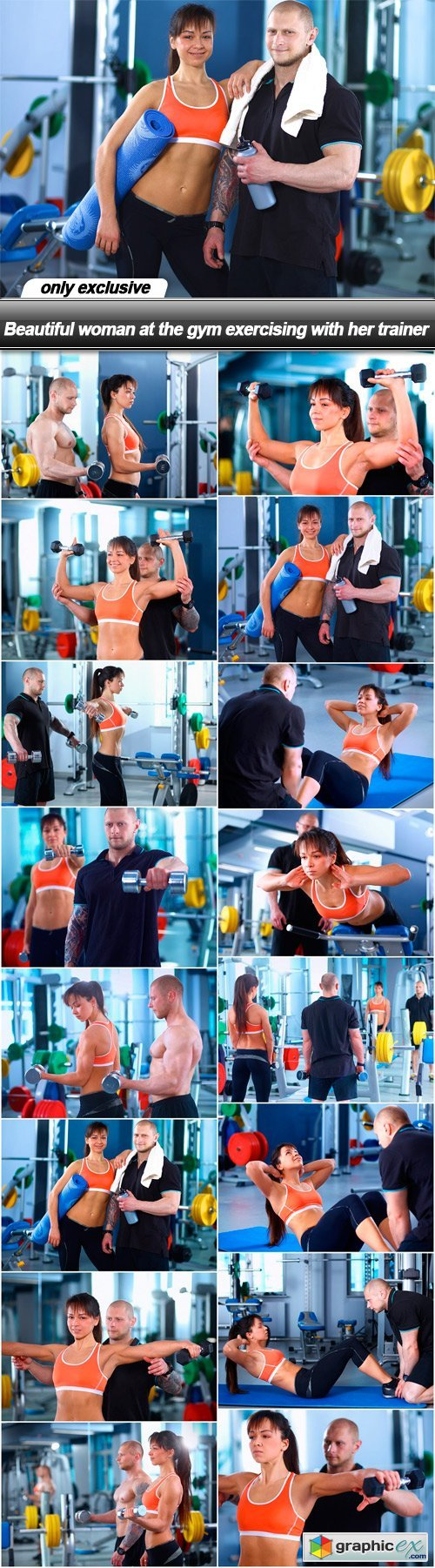 Beautiful woman at the gym exercising with her trainer - 16 UHQ JPEG
