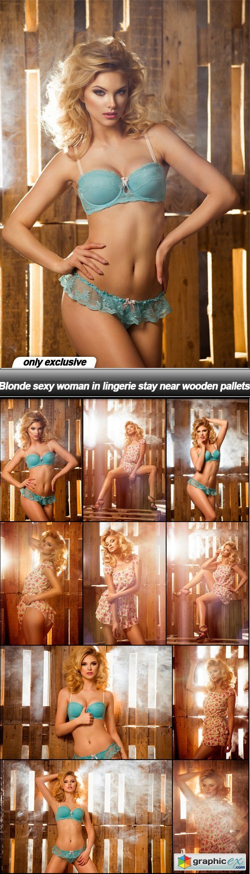 Blonde sexy woman in lingerie stay near wooden pallets - 10 UHQ JPEG