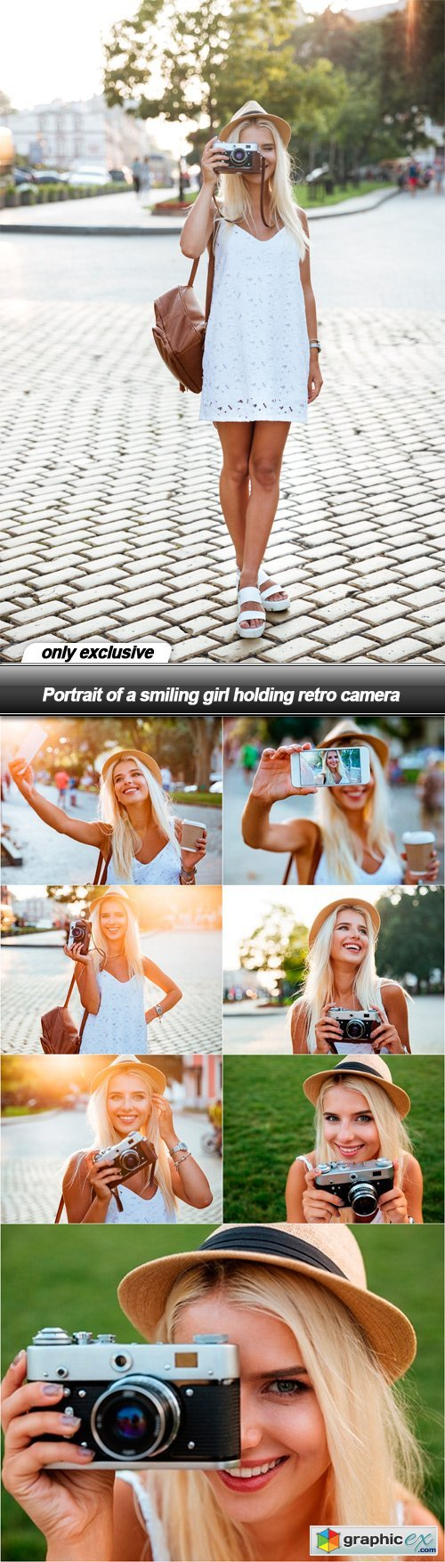 Portrait of a smiling girl holding retro camera - 8 UHQ JPEG