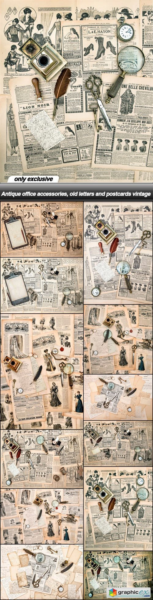 Antique office accessories, old letters and postcards vintage - 13 UHQ JPEG