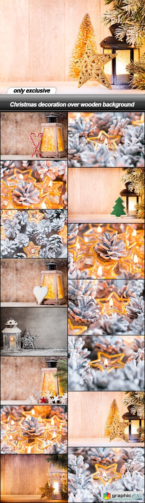 Christmas decoration over wooden background - 15 UHQ JPEG