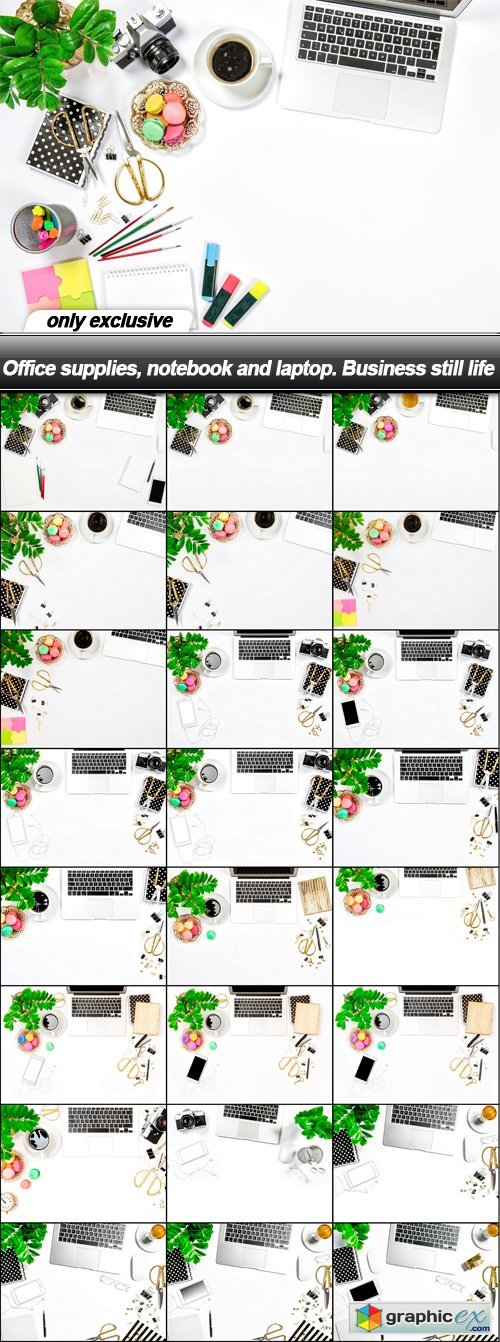 Office supplies, notebook and laptop. Business still life - 25 UHQ JPEG