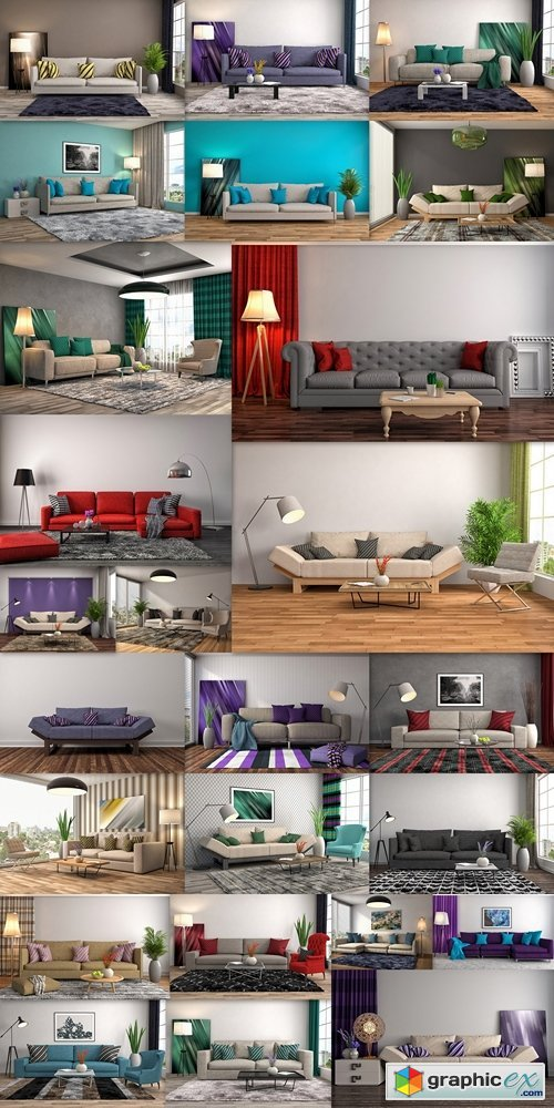 Interior with sofa. 3d illustration 2