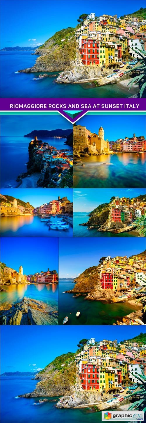 Riomaggiore village, rocks and sea at sunset Italy 7X JPEG