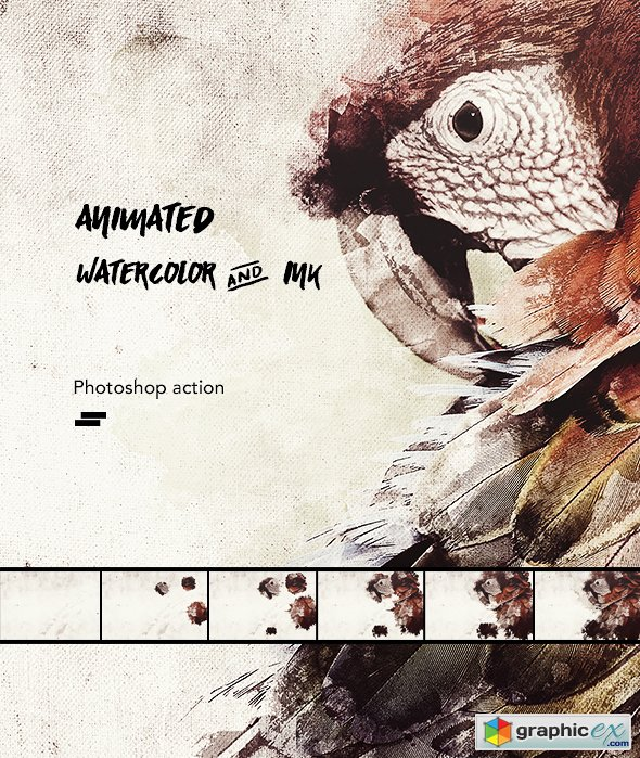 Animated Watercolor and Ink Effect Photoshop Action » Free