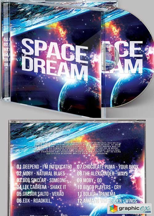 Space Dream V3 CD Cover PSD Template