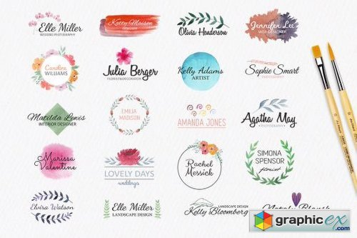 Watercolor Logo Templates Vol 1 Free Download Vector Stock Image
