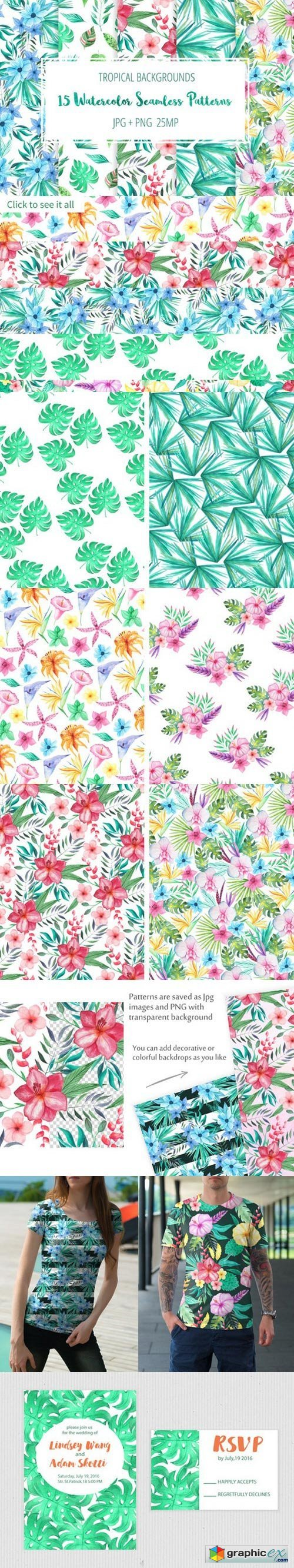 Tropical Floral Seamless Patterns