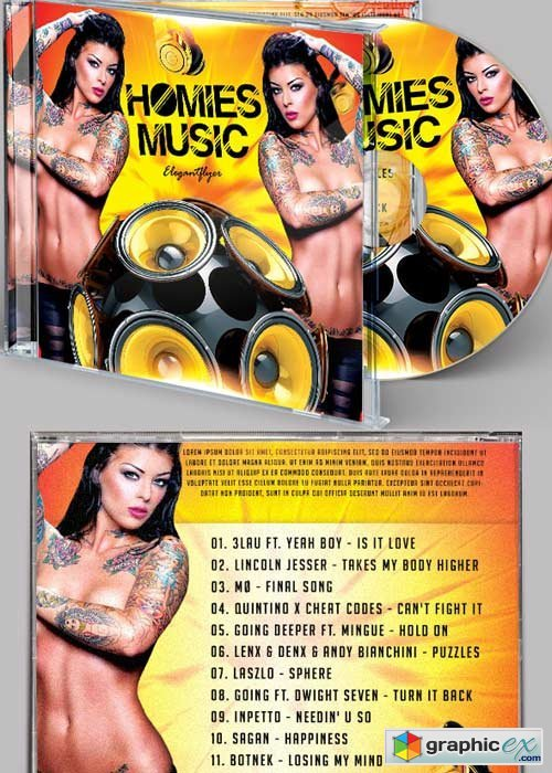 Homies Music Premium CD Cover PSD Template