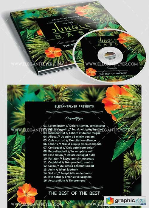 Jungle Bass Premium CD&DVD cover PSD Template