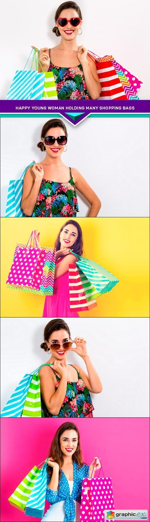 Happy young woman holding many shopping bags 5X JPEG