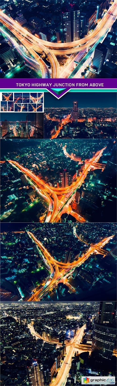 Tokyo highway junction from above 7X JPEG