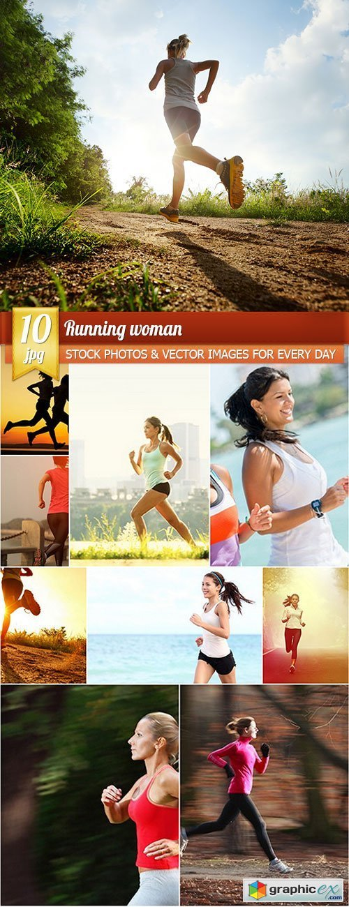 Running woman, 10 x UHQ JPEG