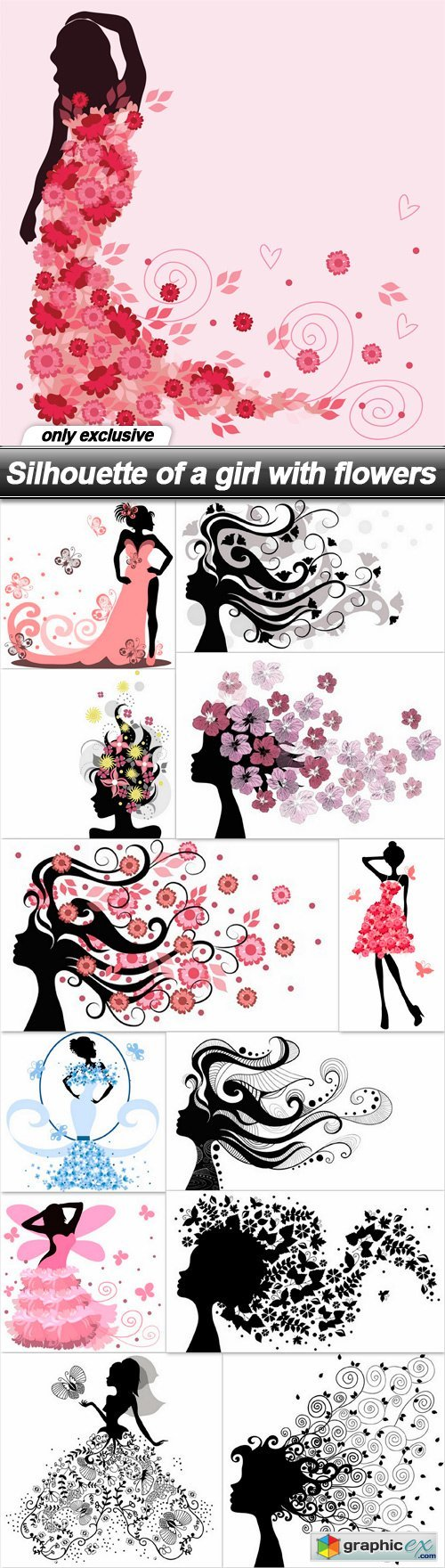 Silhouette of a girl with flowers - 13 UHQ JPEG