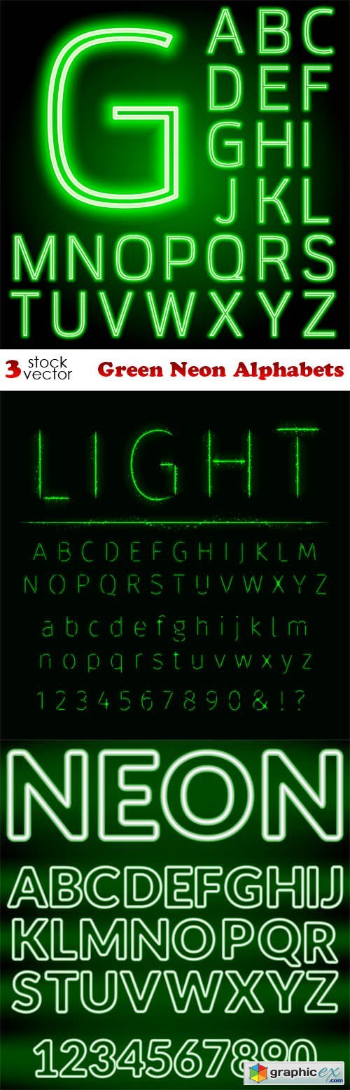 Green Neon Alphabets