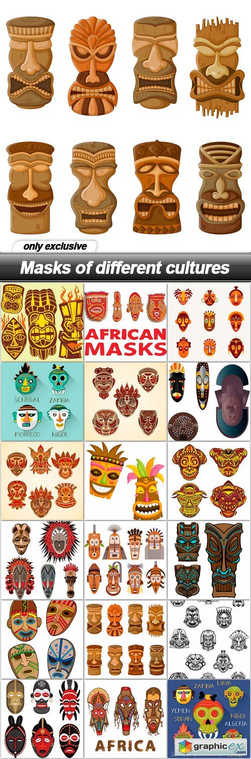 Masks of different cultures - 18 EPS
