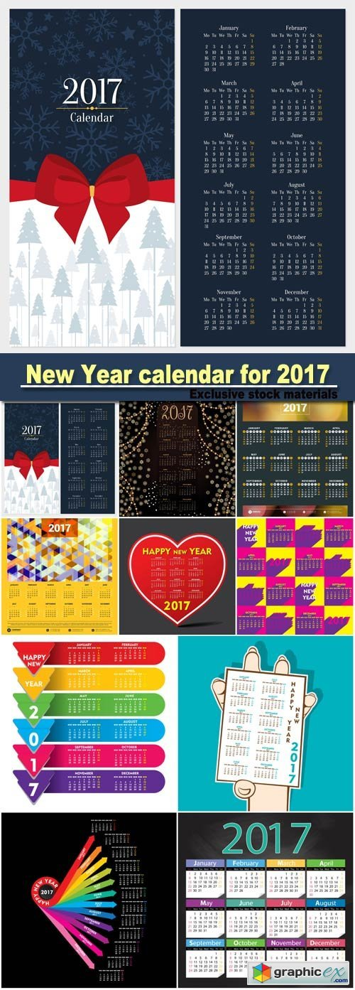 Creative New Year calendar for 2017