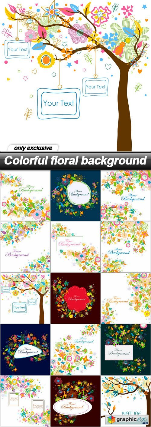 Colorful floral background - 15 EPS