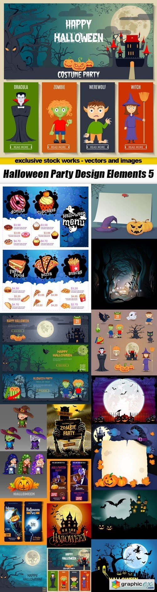 Halloween Party Design Elements 5 - 18xEPS