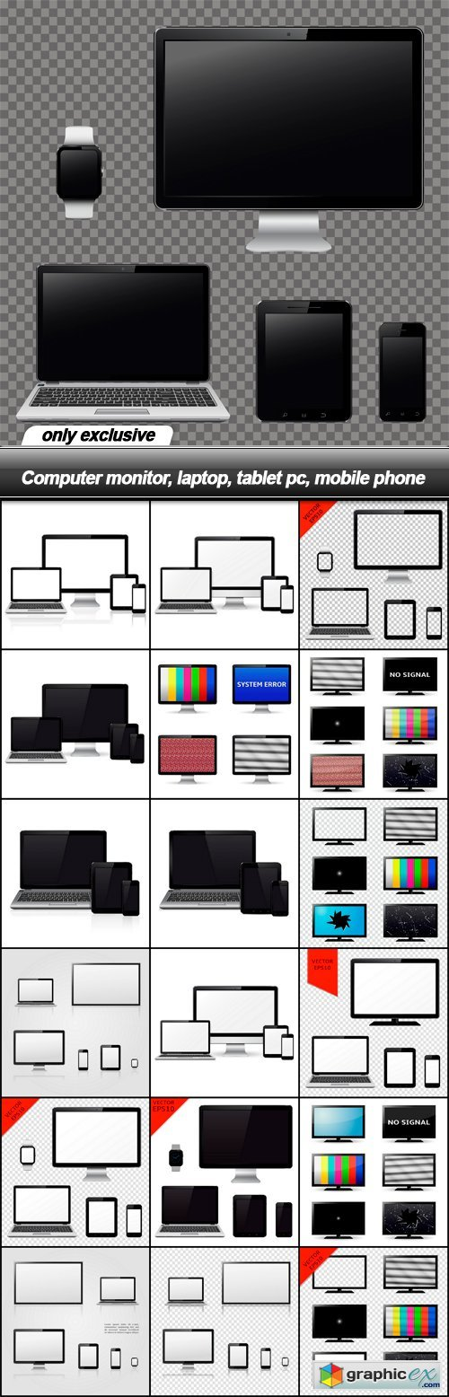 Computer monitor, laptop, tablet pc, mobile phone - 19 EPS