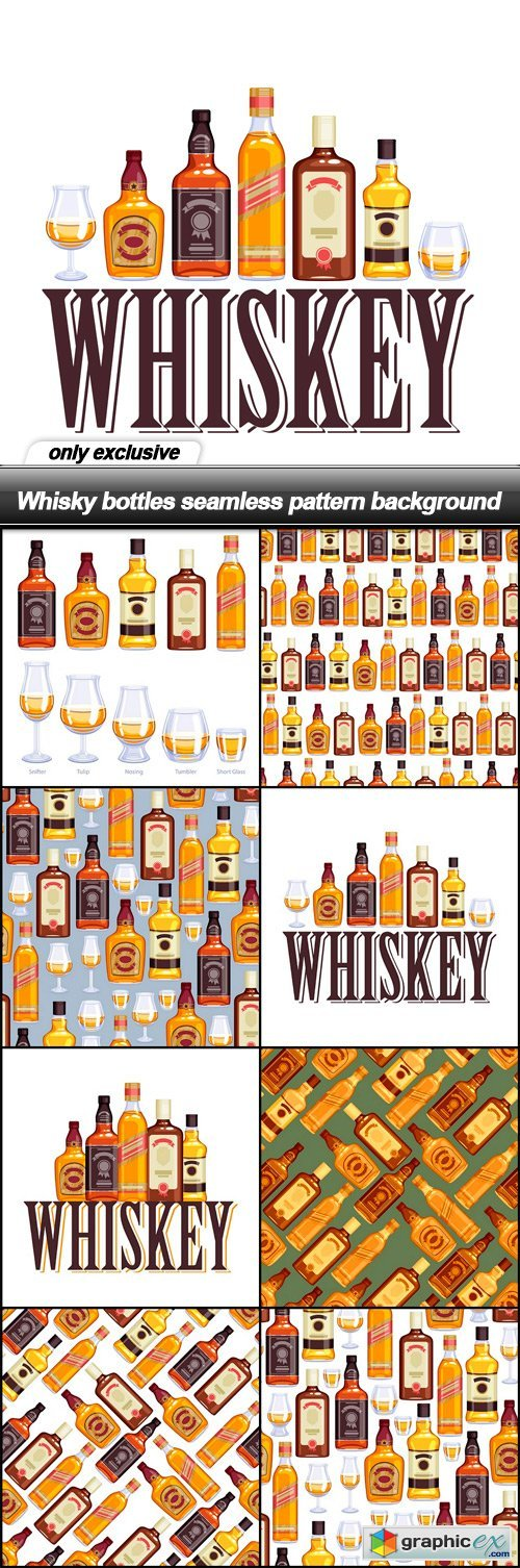 Whisky bottles seamless pattern background - 8 EPS