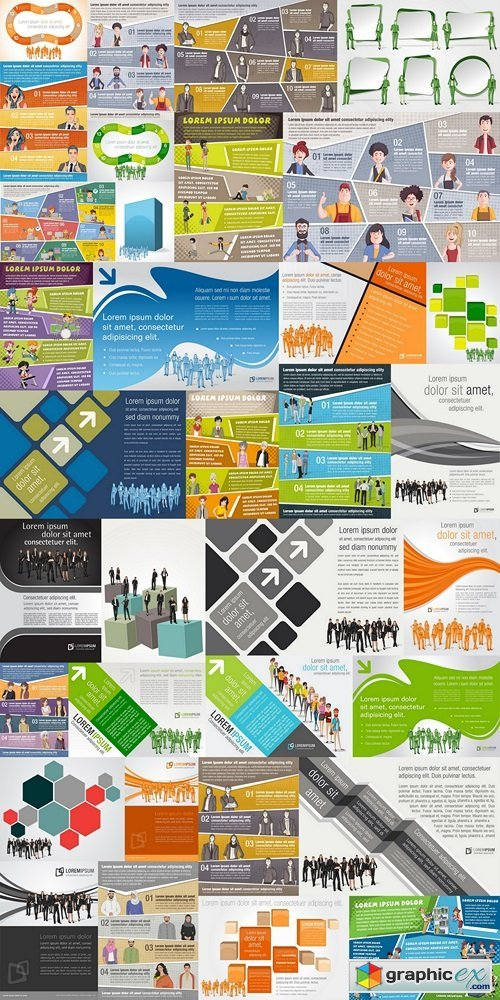 Brochure backgrounds with business people. Infographic template design