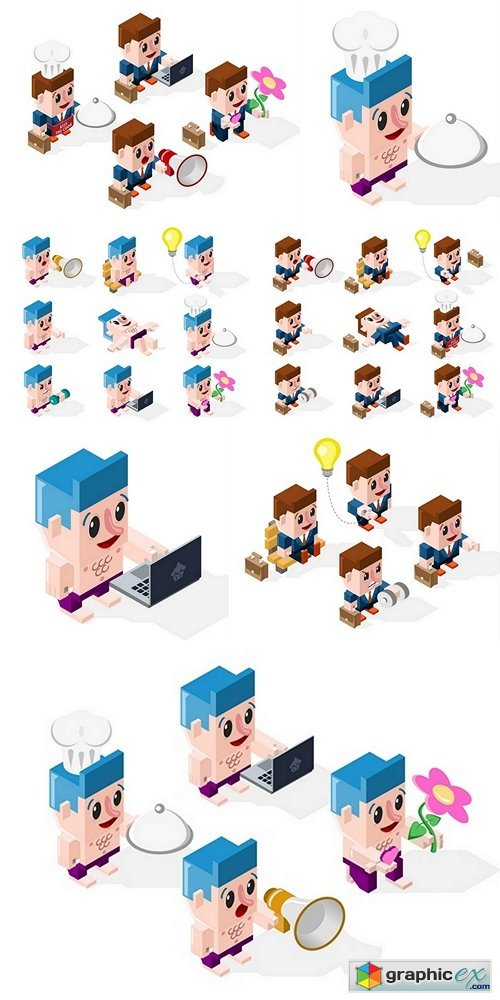 Set of 3D Isometric Cartoon Businessmen in Action on White Background. Isolated Vector Elements