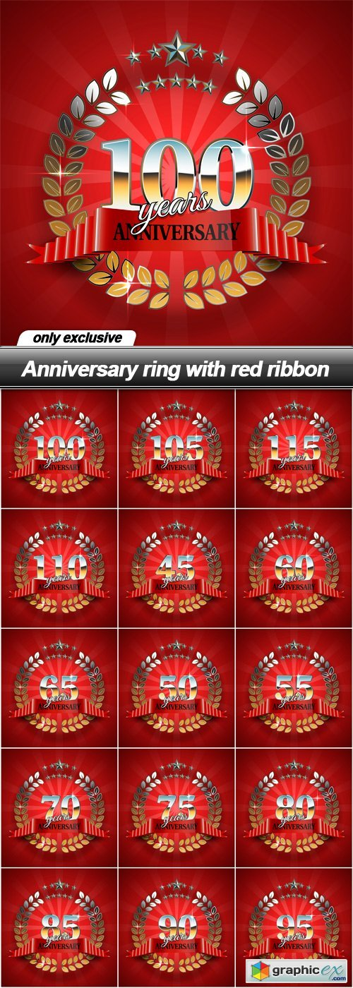 Anniversary ring with red ribbon - 15 EPS