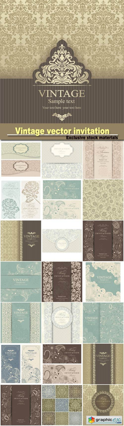 Vintage vector invitation with patterns