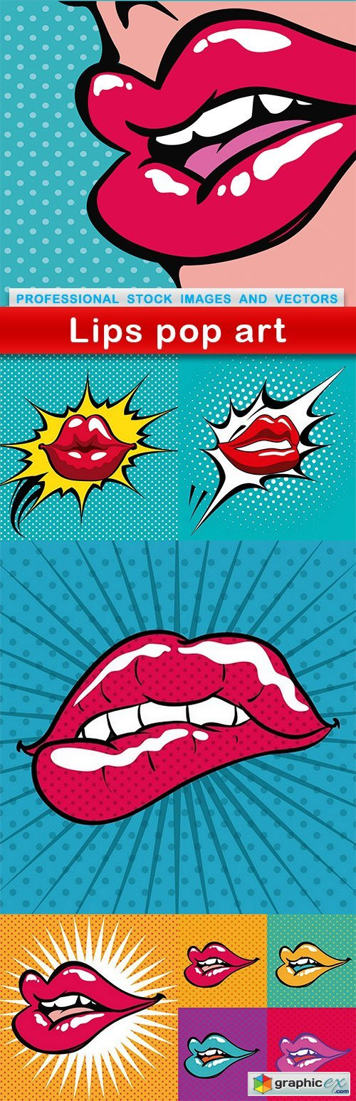 Lips pop art - 6 EPS