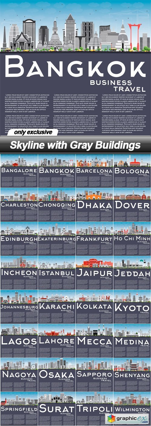 Skyline with Gray Buildings - 32 EPS
